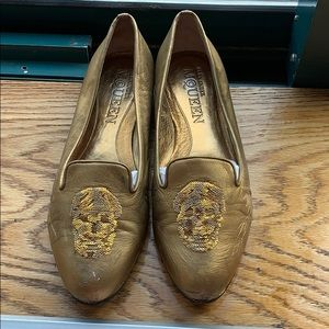 Alexander McQueen Gold Sequin Skull Loafers